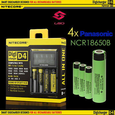 Nitecore D4 Digicharger Battery Charger + 4x Panaosnic NCR 18650 B 3400mAh Liion