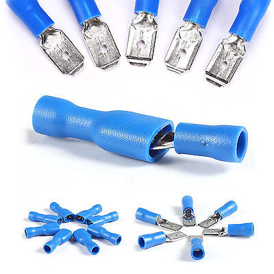 100Pcs Assorted Wire Electrical Insulated Spade Connector Crimp Terminal Kit
