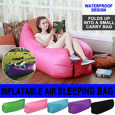 Inflatable Air Bag Sofa Travel Camping Beach Lazy Lounger Sleeping Bed Lounge OZ