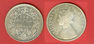 British India QV Victoria 1862 Silver Rupee 6 Dot Below Date Lot#2713