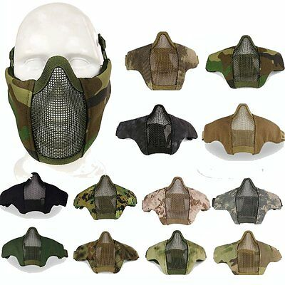Adjustable Airsoft Paintball Metal Mesh Half Face Mask Cover Protector Goggles