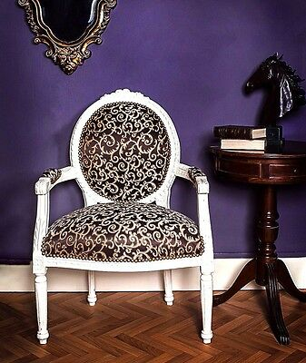 French Louis Armchair White Ivory Shabby Chic Bedroom Hallway Wooden Frame Chair