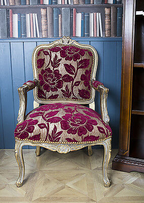 French Louis Armchair Gold Floral Vintage Floral Shabby Chic Antique Bedroom Red