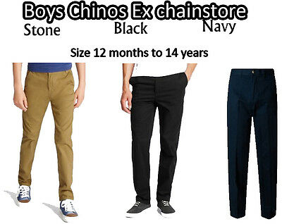 Boys Chinos Ex M*S Pure Cotton Sizes 12 Months Till 14 Years Navy,Stone,Black