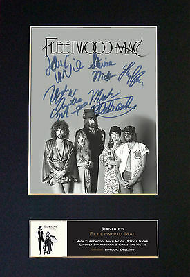 FLEETWOOD MAC Signed Mounted Autograph Photo Prints A4 487