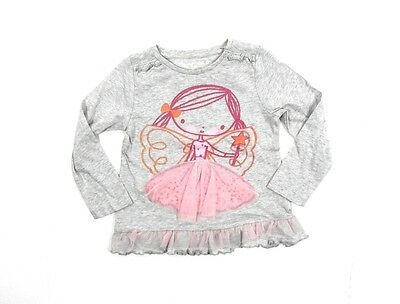 Girls Baby Fairy Tutu Glitter Grey Long Sleeve Frilly T-Shirt 1 - 6 Years