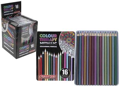 Colour Therapy 16 Piece Metallic Colouring Pencils Professional Quality Tin Case