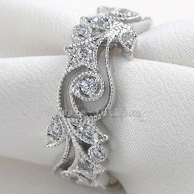 Elegant Jewelry Women Round AAA CZ Cz 925 Silver Engagement Wedding Band Ring
