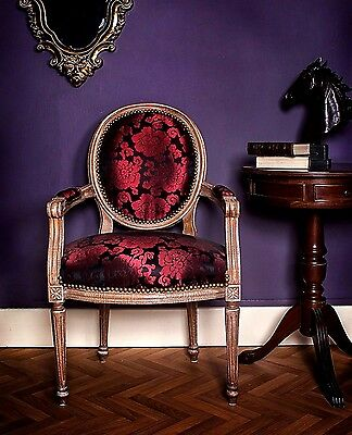 French Louis Armchair Mahogany Purple Vintage Floral Shabby  Antique Bedroom