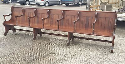 Antique Church Pew 12Ft Wooden Bench Seat Pitch Pine Settle Free Delivery