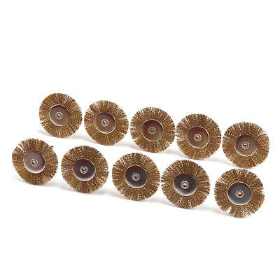 38mm Copper Brass Wire Brushes Wheel Set For Rotary Tools 50Pcs Mandrel 3mm