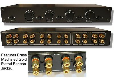4ZONE 2AMP Speaker Selector Switch Switcher w Volume Control & Gold Plated Jacks