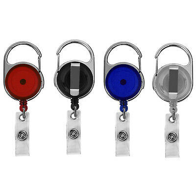 12 Pack - Retractable ID Badge Reels with Carabiner and Swivel Back Belt Clip