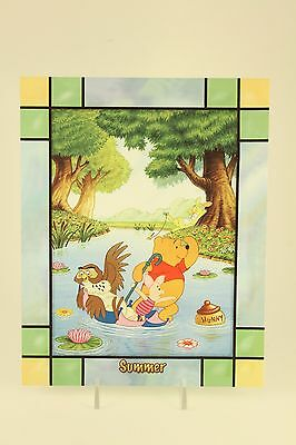 Danbury Mint Disney Winnie The Pooh Stained Glass 4 Seasons Clock Summer Panel