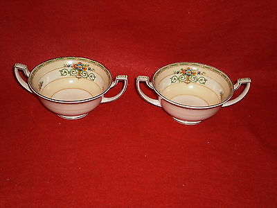 Pair Vintage 2 Handled Grindley Gosforth Small Cream Soup Bowls No Saucers