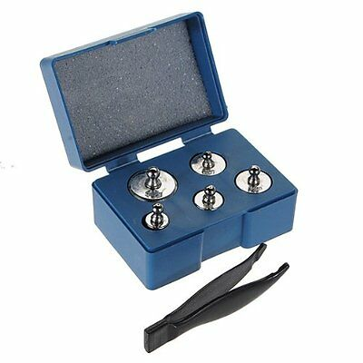 D6 5PCS 50g 20g 10g 5g Grams Precision Chrome Calibration Scale Weight Set Kit
