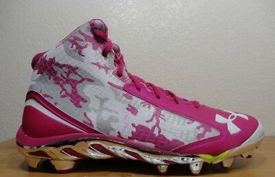 Mens Under Armour TM Spine Nitro MC Football Cleats 12 Pink Silver 1257733-654