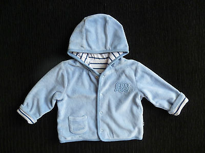 Baby clothes BOY 3-6m Mothercare mid-blue velour, lined jacket hood poppers fix