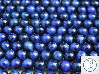 Blue Tigers Eye Natural Dyed Gemstone Round Beads 8mm Jewelry Making 47-50 Beads