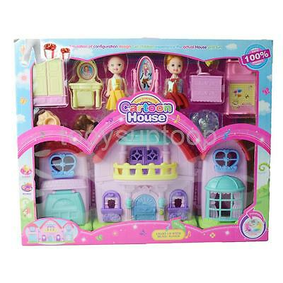 Dolls Plastic Model House Girls Doghouse Furniture Set Kids Pretend Toy Gift