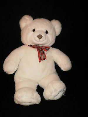 Large 20 Inch Gund White Teddy Bear With Plaid Bow Excellent Condition