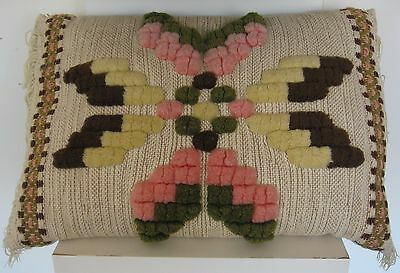 Vintage Swedish hand-made PILLOW with yarn embellishments and borders c. 1950