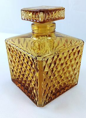 Vintage Amber Glass Square Decanter Retro Diamond Pattern - Made In JAPAN