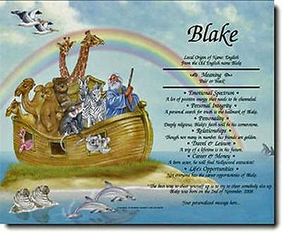PERSONALIZED NOAH'S ARK First NAME MEANING Print New BABY SHOWER GIFT