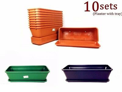 10x Home Garden Planter Pots Flower Pots Tray Rectangle Plastic Magic #4033