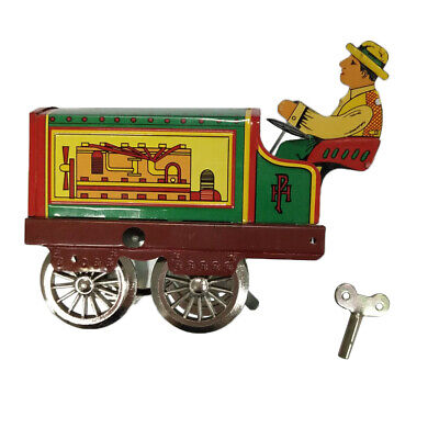 Wind up Tractor Driver Farm Construction Clockwork Mechanical Tin Toy Gift