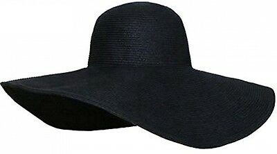 KUU Black Women's Ridge Wide Floppy Brim Summer Beach Sun Hat Straw Cap Party
