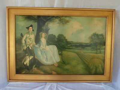 After Gainsborough Beautiful Portrait Of A Man And Woman Early American Scene