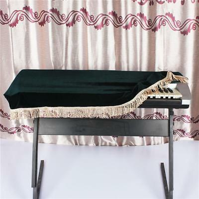 61-key Electronic Piano Keyboard Dust Cover Decorated with Fringe Dark Green