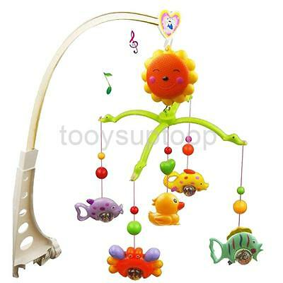 Nursery Rattle Baby Bed Crib Bell Mobile Wind-up Music Box Fish Crab Toy