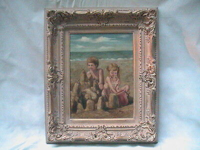 SANDY BEACH SAND CASTLE BROTHER & SISTER PLAY AT OCEAN signed and Dated 76
