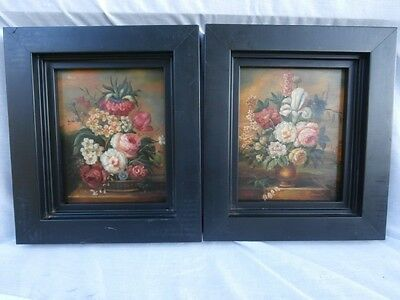 Magnificent Pair Oil On Wood Boards Old World Dutch Flemish Floral Still Life