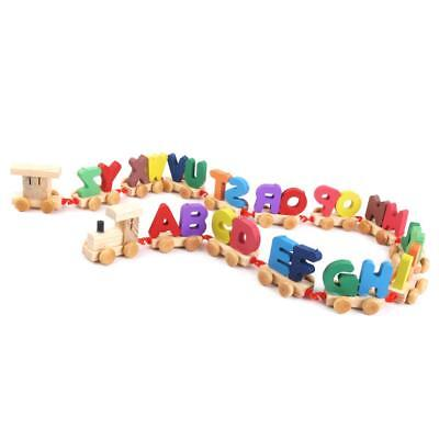 Wooden Train Set Alphabet Wood Letter Preschool Kids Toddler Educational Toy