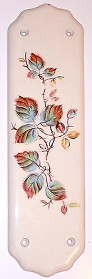 Painted Porcelain Wall Plate Plaque Blue Leaves Vines Mid Century Signed