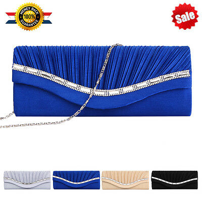 Satin Crystal Diamante Wedding Ladies Party Prom Evening Clutch Bag Handbag