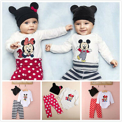 3pcs Newborn Toddler Kids Baby Boys Girls Outfits Clothes Micky Minnie Mouse Set