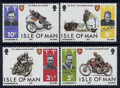 1974 Isle Of Man Tt Motorcycles & Racing Set Of 4 Fine Mint Mnh/muh