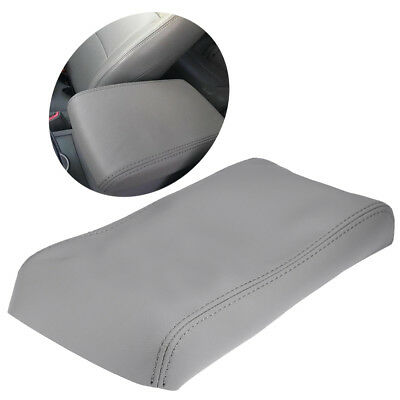 Synthetic Leather Console Lid Armrest Cover Fits 08-2013 Toyota Highlander Gray
