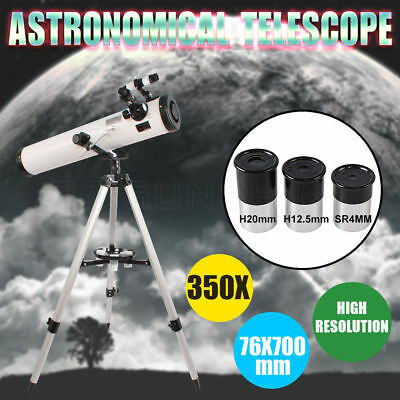 Astronomical Telescope 76x700mm Reflector Night Vision HD High Resolution 350X
