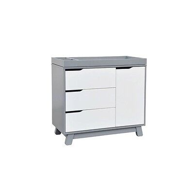 Babyletto Hudson Changer Dresser Wood Baby Dressers in Grey and White