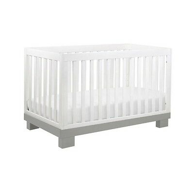 Babyletto Modo 3-in-1 Convertible Crib Wood Cribs in Grey and White