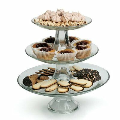 Anchor Hocking 86616 3 Tier Layer Shelves Glass Wedding Cake Stand Display