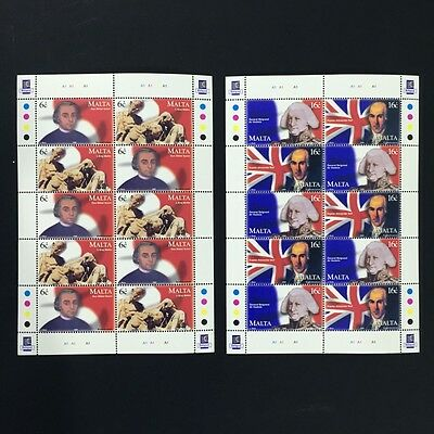 1999 Malta Commemorations Sheet of 10 Stamps Unmounted Mint NH #1083