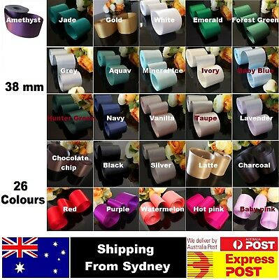 SATIN Wedding Car Ribbon 38 MM X 6 Mtr Double Face FLAT PACKED