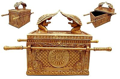 """9.5"""" Long The Ark of the Covenant Box Jewelry Container Keepsake Cherub Angels"""