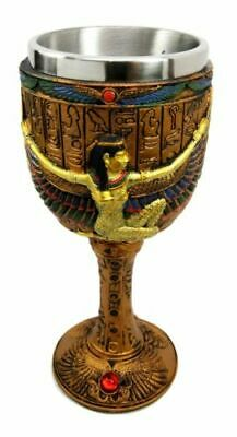 """6.75"""" Height Ancient Egyptian Egypt Goddess Isis w/ Open Wings Wine Goblet Cup"""